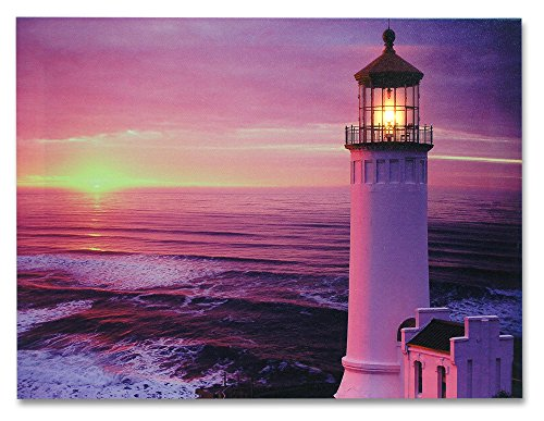 Light House Wall Art - Nautical Beach Themed LED Lighted Canvas Print - Sunset and Ocean Picture