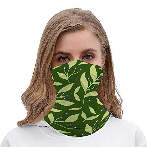 Pretty Green Botanical Leaf Berry Unisex Multifunctional Bandana Neck Gaiter Tube Headwear headkerchief, Motorcycle Face Mask Bandana Headband for Women Men Face Scarf