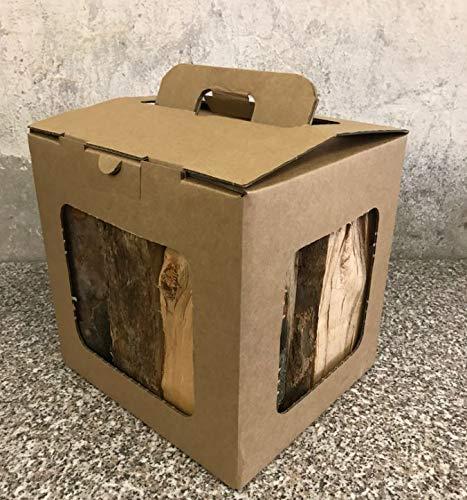 Brennholzpaket mit 10kg Brennholz, 100% deutsche Buche für Kaminofen, Ofen, Lagerfeuer, Feuerschalen – perfekt auch als Geschenk, dank praktischem Tragegriff