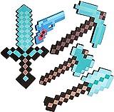 ZJIEX Minecraft, Espada de Diamante Azul, Espada de Juguete de Espuma, Pico de píxeles, Pistola de píxeles, Juego de Juguetes MC, Espada de Batalla Espectacular, Accesorio de Doble Hacha