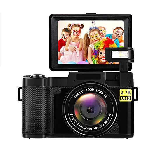 Appareil Photo Numérique Appareille Photo Full HD 2.7K 24MP Appareils Photo Compacts avec Flash Rétractable