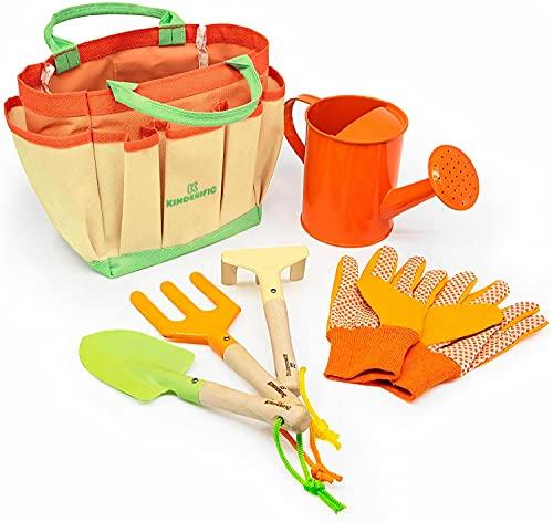 Kinderific Gardening Set, Tool Kit, For Kids, STEM, Includes Tote Bag, Spade, Watering Can, Rake, Fork, Trowel and Gloves.