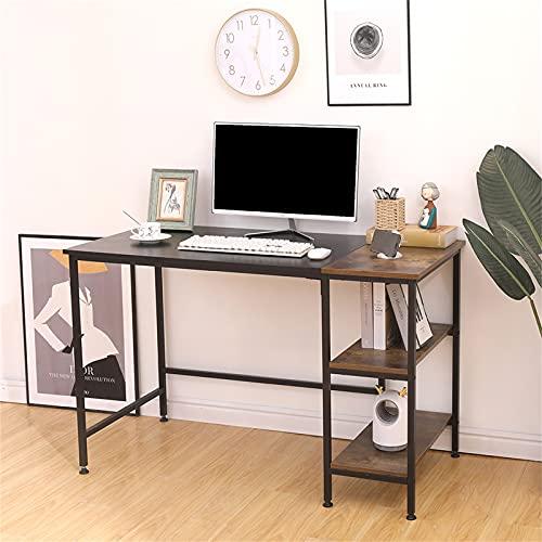 Poazmron Escritorio para videojuegos, escritorio para ordenador con estantes de almacenamiento, mesa moderna de estilo industrial con tablero extraíble, madera y metal, negro (120 x 60 x 75 cm)