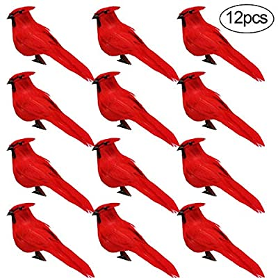 Alpurple 12 PCS Artificial Red Cardinal Birds with Clip-5.0 Inch Christmas Cardinal Birds Clip for Christmas Tree Ornament Decorations, Arts and Crafts(Black Cockroach)