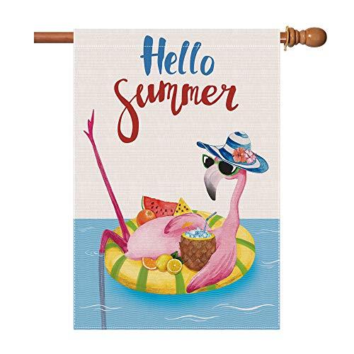 Bonsai Tree Summer Flags 28 x 40 Double Sided, Pink Flamingo Hello Summer Burlap House Flags, Pineapple Lemon Garden Yard Pool Decor Outside