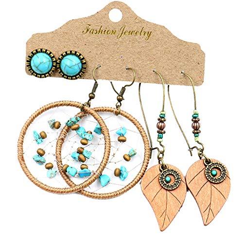 Creative Ethnic Style Hollow Femenale Woven Dream Net Wood Bead Earrings Set