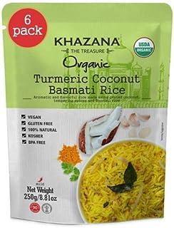 Khazana ORGANIC Ready To Heat Basmati Rice (6-Pack) Turmeric Coconut - 8.8oz Pouches | Non-GMO, Vegan, Glut...