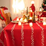 Deconovo Mantel Mesa Rectangular Mantel de Navidad Decoración Rayas 137 x 274 cm Rojo