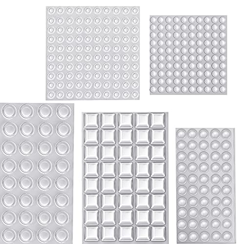 322 Pieces Cabinet Door Bumpers, 5 Size Clear Adhesive Bumpers Pads, Sound Dampening Silicone Feet for Drawers, Glass Tops, Cutting Boards, Picture Frames, Furniture, Wall, Wooden Floor (Transparent)
