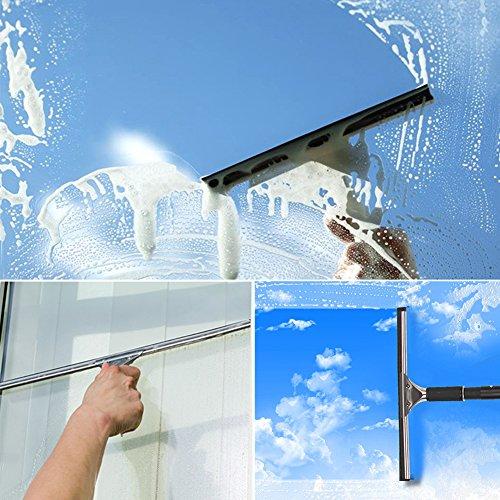 LZDseller01 Duschwischer Edelstahl-Scheibenwischer, Edelstahl-Glaskratzer, Scheibenwischer Duschwischer Ideal für die Reinigung von Autoglasscheiben in Spiegelfenstern