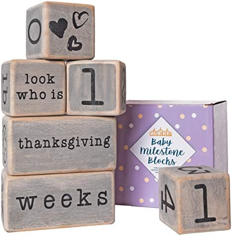 Baby Monthly Milestone Blocks 6 Blocks Safe for Baby The Most Complete Set for Pregnancy Infant product image