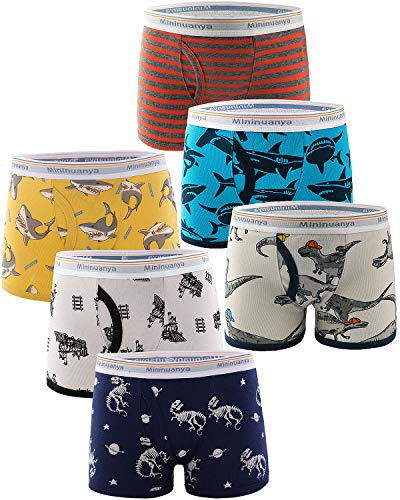 Adorel Jungen Boxershorts Unterhosen Baumwolle 6er-Pack Hai & Dino 116-122 (Herstellergröße 130)