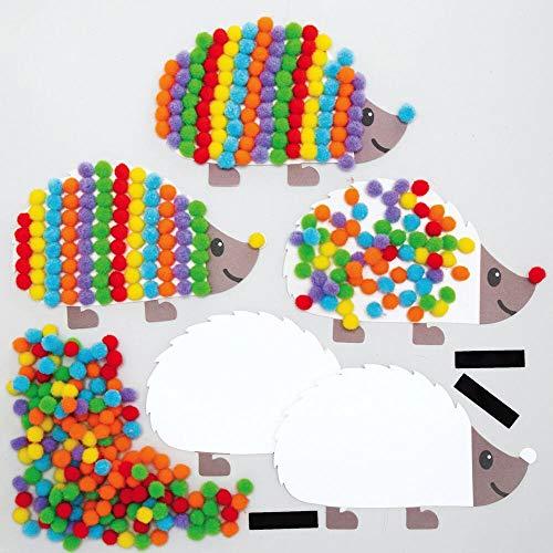 Baker Ross AX167 Herbst Igel Pompons Bilder Bastelset für Kinder - 5 Stück, Kreativsets und Bastelbedarf zum saisonalen Basteln und Dekorieren zur Winterzeit