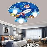 Universum Rakete Deckenleuchte Sterne Kinderleuchten E27 Holzhandwerk Glas Beleuchtung Ultradünn Flurlampe Weißem LED Lampe Babyzimmer Schlafzimmer Wohnzimmer Kinderzimmer Cartoon Lichter