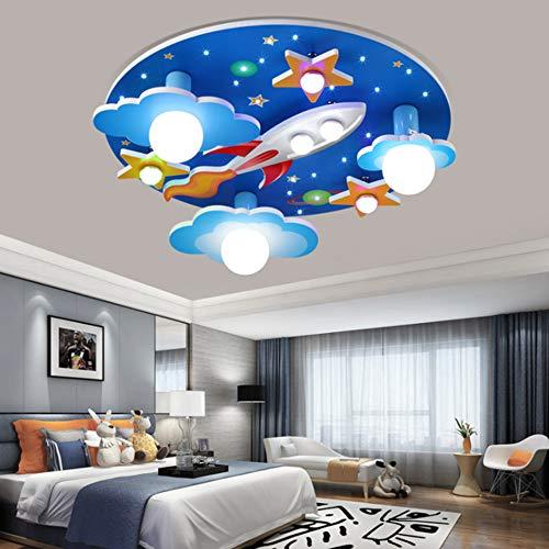 Universum Rakete Deckenleuchte Sterne Kinderleuchten E27 Holzhandwerk Glas Beleuchtung Ultradünn Flurlampe Weißem LED Lampe Babyzimmer Schlafzimmer Wohnzimmer Kinderzimmer Cartoon Lichter (Blue)
