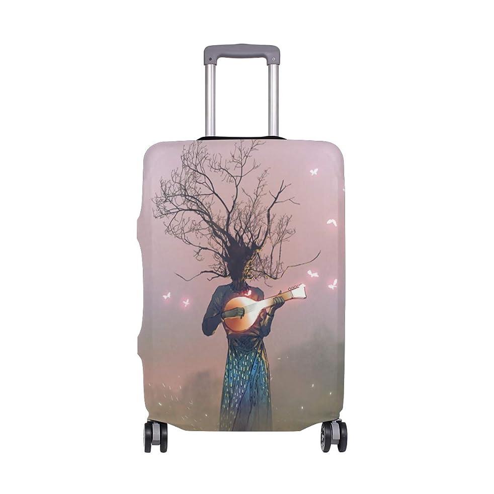 不快な二年生気を散らすスーツケースカバー 琵琶 抽象 おしゃれ 伸縮素材 保護カバー 紛失キズ 保護 汚れ 卒業旅行 旅行用品 トランクカバー 洗える ファスナー 荷物ケースカバー 個性的