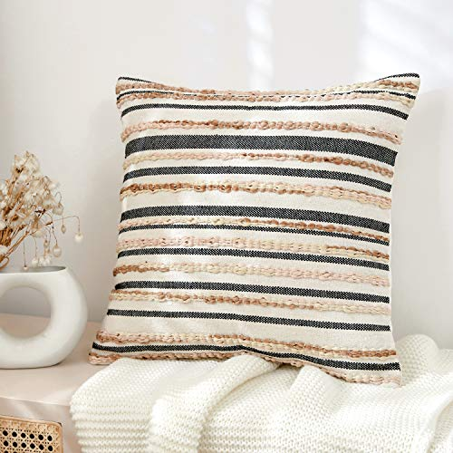 Striped Woven Braids Boho Throw Pillow Covers for Couch Bed Sofa,100% Cotton,Boho Modern Cozy Rustic Decor, Adding Eclectic Character,Beige Cream Accent Pillows 18 x 18 inch