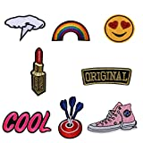 ZHOUBA 8pcs bordado Cool Rainbow coser hierro en parche Badge Bag Hat Jeans DIY Applique, multicolor, Multi size