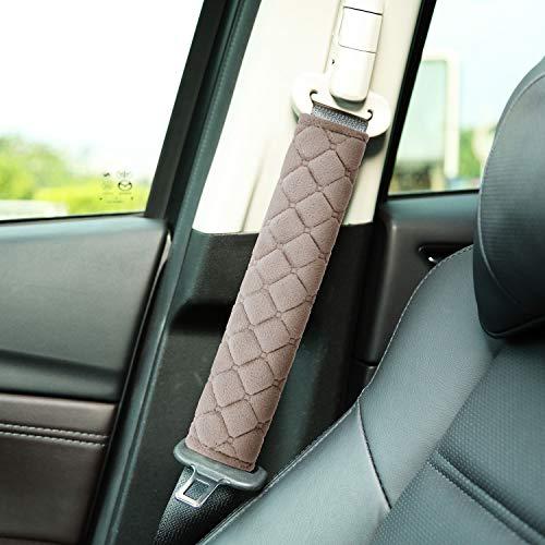 4 Pack Car Seat Belt Pads Seatbelt Protector Soft Comfort Seat Belt Shoulder Strap Covers Harness Pads Helps Protect Your Neck and Shoulder (Khaki)