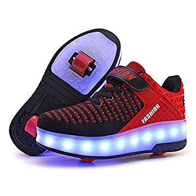 AIkuass USB Chargable LED Light Up Roller Shoes Wheeled Skate Sneaker Shoes for Boys Girls Kids