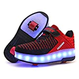 AIkuass USB Rechargeable LED Light Up Double Roller Shoes Wheeled Skate Sneaker Shoes for Boys Girls Kids (12.5 Little Kid/ EU30, BlackRed)