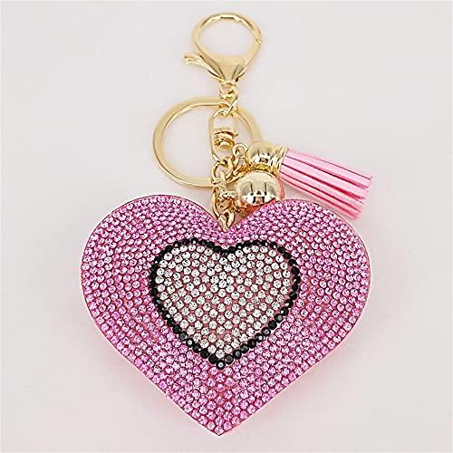 DKANG Llavero, Accesorios Coche, Mujer Crystal Rhinestone Corazón Llavero Llavero Bolsa Coche Colgante Corazón Llavero Anillo (Color : Pink)