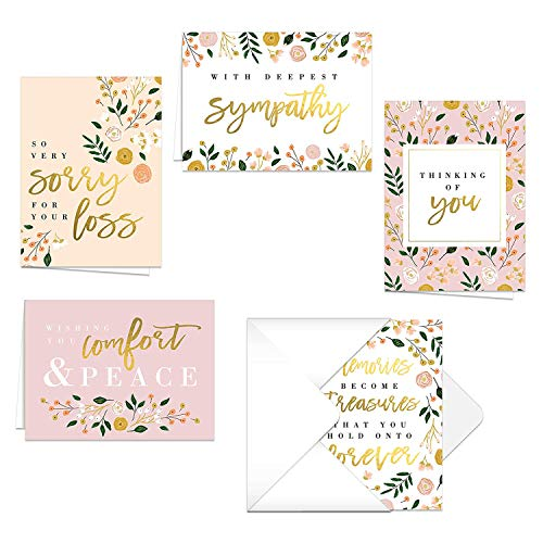 Modern Floral Sympathy Cards / 25 Sympathy Cards / 5 Floral Greeting Card Designs