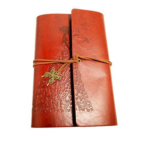 Cuaderno de piel sintética A6, con relieve, colgantes de mariposa retro, diario de escritura,...