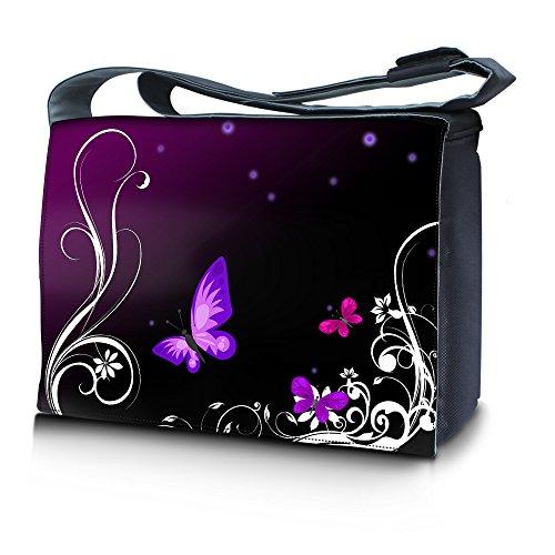 Luxburg® Design Messenger Bag Notebooktasche Umhängetasche für 15,6 Zoll, Motiv: Schmetterlinge lila