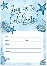 Digibuddha Beach Invitations with Envelopes (Pack of 25) Any Occasion Large 5x7 Fill in Birthday Party, Baby Shower, Housewarming, Bridal Shower, Graduation Excellent Value Party Invites VI0059B