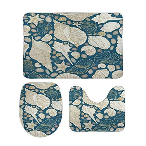 Shells Sea Star with Sand Bathroom Rugs 3 Pieces Set Coral Fleece Bath Carpet Mat Contour Mat Toilet Lid Cover Soft Non Slip Absorbent Machine Washable for Tub Shower