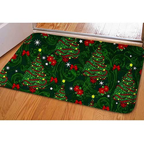 Dellukee Christmas Trees Doormats Green Indoor Funny Non Slip Durable Washable Home Decorative Door Mats Rugs for Entrance Bedroom Bathroom Kitchen, 23 x 16 Inches