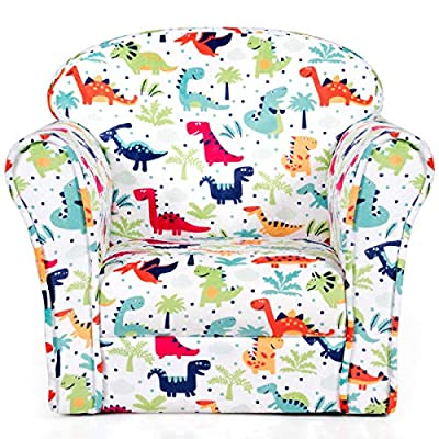 Costzon Kids Sofa, Children Armrest Chair with Pattern, Toddler Furniture w/Sturdy Wood Construction for Boys & Girls, Armrest Couch for Preschool Children, Lightweight Children Sofa Chair, Dinosaur from Costzon