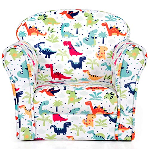 Costzon Kids Sofa, Children Armrest Chair with Dinosaur Pattern, Toddler Furniture with Sturdy Wood Construction for Boys & Girls, Armrest Couch for Preschool Children, Lightweight Children Sofa Chair