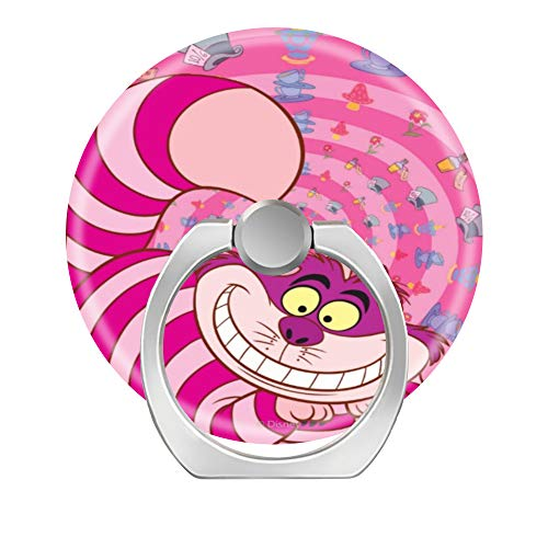 360 Degree Finger Stand Cell Phone Ring Holder Car Mount with Hook for Smartphone-Alice in Wonderland Cheshire Pink cat Smiling