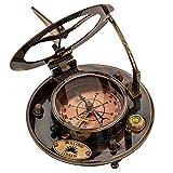 Bussola marittimo 10cm compasso replica nave orologio solare cuoio stile antico