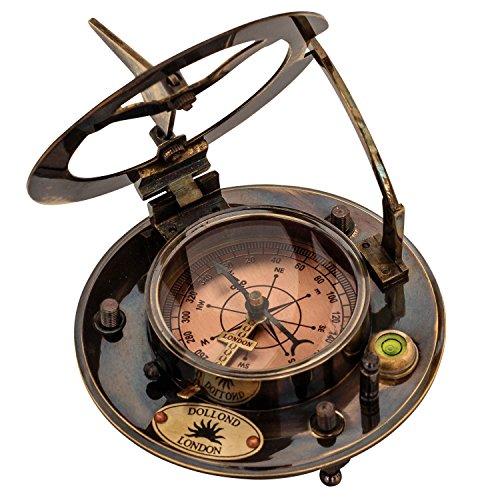 aubaho Kompass Maritim 10cm Sonnenuhr Replik Navigation Messing Glas Leder Antik-Stil