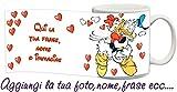 My Cust Tazza Personalizzata Collezione Love S.Valentino Cuore Amore Disney Paperino Cuori