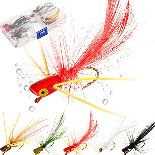 25 Pieces Dry Fly Fishing Popper Lure Kit Bass Poppers Files for Trout...