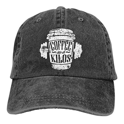 Jopath Los amantes del café que están perdiendo peso adulto sombrero de vaquero, negro lavado camionero sombreros para mujer pérdida de peso