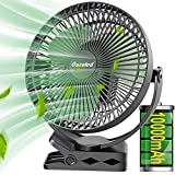 Rechargeable Clip On Fan, 10000mAh Portable Fan, 8 Inch Battery Operated Fan for Stroller, Treadmill(Up to 24H of Use),4-Speed Fast Cooling Outdoor Fan, USB Fan for Bedroom, Office, Camping, Green