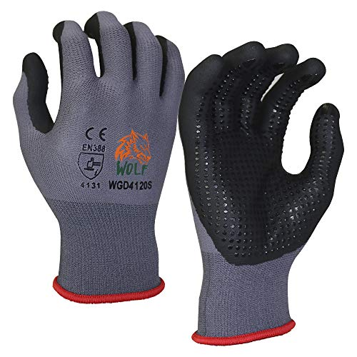 WOLF Ultra-Thin Nitrile Foam Palm Coated Glove with Tacky Dot Grip, Multi Purpose (12, Large)