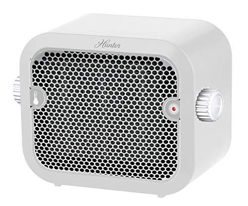HUNTER 1,500-Watt Personal Ceramic Heater with Adjustable Thermostat, White (Renewed)