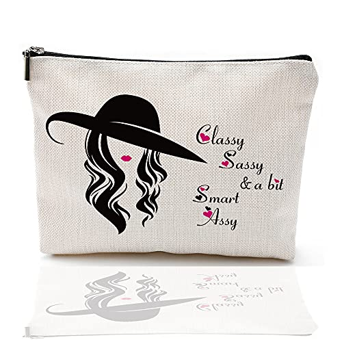Inspirational Quotes Makeup Bag, Classy, Sassy and a Bit Smart Assy Cosmetic Bag, Elegant Gifts for Women,Waterproof linen Travel Accessories Toiletry Bag,Funny Gifs for Sister