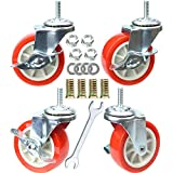 DICASAL 3 Inch Side-Brake Stem Casters Wheels 360 Degree Swivel Castors Soft Wheel No Noise for Wooden Floor funiture Carts Pack of 4 (Red, M8)