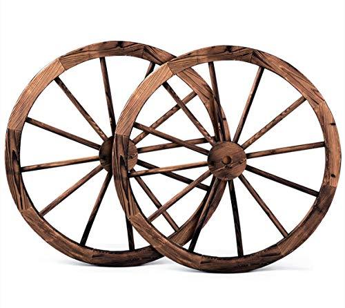 DREAMADE 2er Holzrad Dekorad für Garten, Wagenrad Deko Rad, Wagenrad Holz Gartendeko, Braun