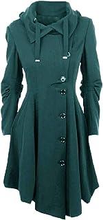 MogogoWomen Fall Winter Button Hood Jackets Asymmetric Hem Duffle Coat