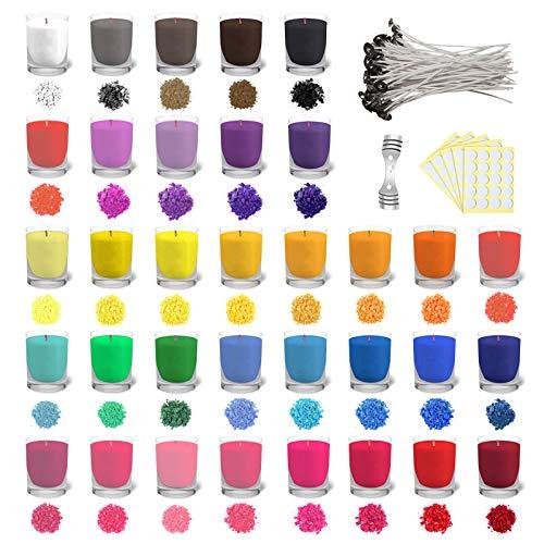 34 x 5 Gramm Kerzenwachs Farbe Soja-Kerzenwachs zum Färben von Kerzen DIY Kerzen(34 Farben) (34*5g)