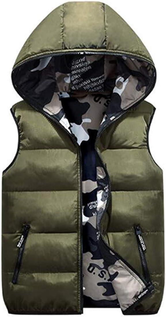 Inlefen Boys Girls Feather Vest Jacket with Hood Reversible Camouflage Coat