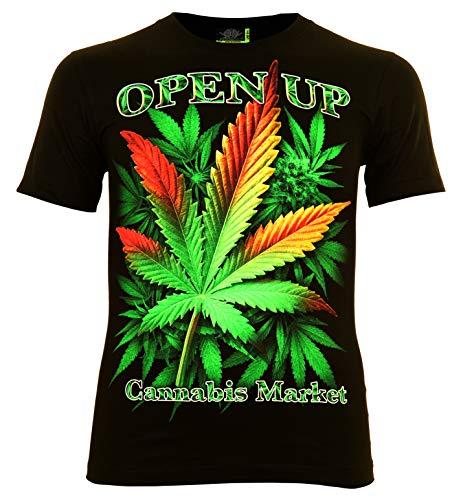 Open Cannabis Market Herren T-Shirt Glow in The Dark (XXL)